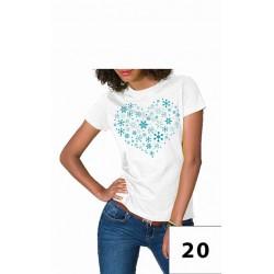 Koszulka damska serce z śnieżnych turkusowych płatków