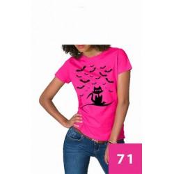 Koszulka Damska - kot i nietoperze czarne