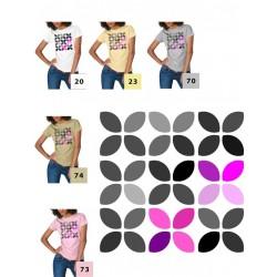 Koszulka damska - listki szare