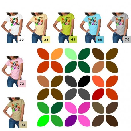 Koszulka damska - listki kolorowe