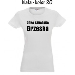 Koszulka Damska - Żona Strażaka - druk na czarno