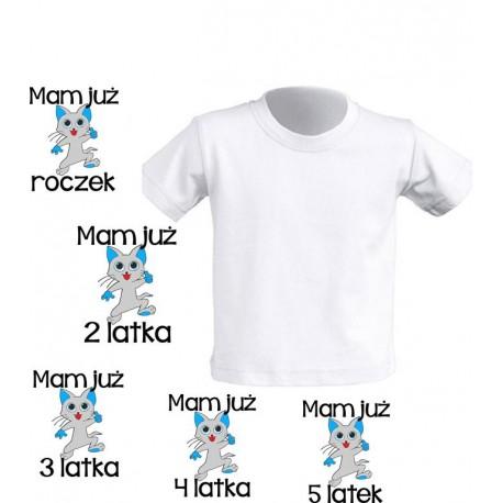 Koszulka dziecięca - Mam juz urodziny - kotek