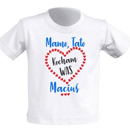 Koszulka z nadrukiem dziecięca - Mamo, tato, kocham was imie