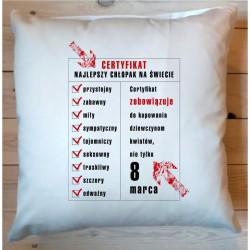 Poduszka - Certyfikat najlepszy chłopak na świecie