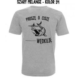 Koszulka Męska - Proszę o ciszę tu się wędkuje druk na czarno